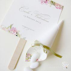 ventaglio e cono mignon portaconfetti  con decoro ortensia bouquet