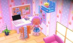 Adorable! So many colors, and the plant on the shelf high up on the wall is perfect. I love the desk with the poster next to it and the comfy little chair. And the bulletin board is always a must!