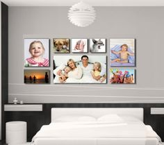 Great photo canvas collage idea except vertical Canvas Wall Collage, Photo Wall Collage, Diy Canvas, Photo Collages, Photo Canvas, Family Pictures On Wall, Family Wall, Family Room, Room Decor