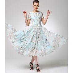 Floral Maxi Dress Prom Dress Women Maxi Chiffon Dress 1245) ($89) ❤ liked on Polyvore featuring dresses, silver, women's clothing, flower print dress, light green prom dress, chiffon dress, sleeved prom dresses and chiffon maxi dress