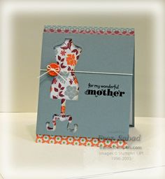 Stamp Set - Delightful Dozen  card stock - Baja Breeze, Floral District DSP  Ink - Jet Black Stazon  Etc - Dress Up Framelits, Baker's Twine, Tangerine Tango button, Scallop punch