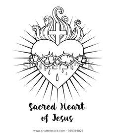 Resultado de imagen para Sacred Heart Of Jesus Stock Images, Ro Jesus Tattoo Design, Angel Tattoo Designs, Catholic Tattoos, Christ Tattoo, Sacred Heart Tattoos, Simple Line Drawings, Jesus Art, Christian Symbols, Heart Of Jesus