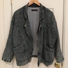 Vintage Boyfriend Denim Jacket You'll want to live in this oversized dark-acid-wash denim jacket! Fully lined with pinstripe design and extremely comfortable, this one-size jacket is a closet favorite. Note: there's an interior lining tear in the left pocket, nothing that's visible from the exterior. Vintage Jackets & Coats Jean Jackets