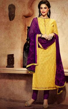 Picture of Melody Yellow Color Casual Churidar Kameez