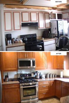 Fan photos from Marion, who was excited to show off her new KraftMaid kitchen. (Maple cabinets in Cinnamon)