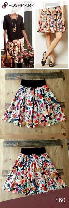 """Anthropologie Songbird Skirt 2-4 By Eva Franco. Really unique print on this skirt with acorns, flowers, birds, and beetles with tiny umbrellas. It's lined and the material is a blend of polyester, rayon, spandex with polyester lining. Zips at the back and has a stretchy black fold over waistband. Waist measures 12.5"""" and length is 22"""". Sized 4 but would be best for a 2 or the small side of a 4. Worn once and in like new condition. A little torn about parting with this one so the price is…"""