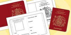 British Passport Template - Passport, Design, holiday, holidays, travel, passport design, fine motor skills, card template, holidays, water, tide, waves, sand, beach, sea, sun, holiday, coast
