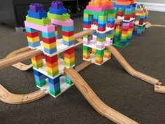 A parents' guide with tips and tricks for building with Dreamup Toys Wooden Railway Block Platforms, wooden train tracks, DUPLO blocks, and LEGO bricks. Lego For Kids, Diy For Kids, Crafts For Kids, Indoor Activities, Toddler Activities, Lego Challenge, Lego Projects, Creative Play, Lego Creations