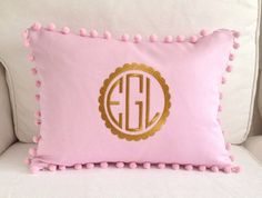 Gold Scalloped Monogram Pom Pom Pillow Cover by peppermintbee