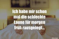 Ich habe mir schon mal die schlechte Laune für morgen früh rausgelegt... ... gefunden auf https://www.istdaslustig.de/spruch/1398 #lustig #sprüche #fun #spass