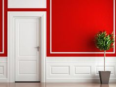 White wainscoting with bright red above!