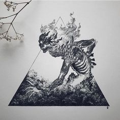 Original artwork, traditional art, ink drawing for Inktober Fire Element Tattoo Sketches, Tattoo Drawings, Art Sketches, Tatoo Art, Body Art Tattoos, Dark Art Tattoo, Skeleton Art, Dark Art Drawings, Tattoo Ideas