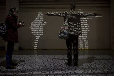 "Interactive Shadows Made with Words | via My Modern Metropolis    The interactive typographic installation titled In Order to Control features a constant loop of selected text about ""the threshold [of] ethics and morality"" projected on the ground. As spectators step into the installation to read the projected content, their blackened silhouette covers the words on the floor and transfers them to the proximate wall."