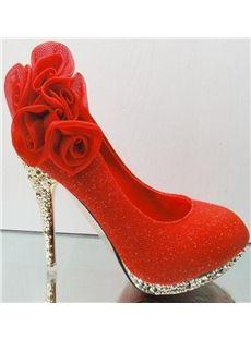 Fantastic Five Roses Golden Heels Womens Prom Shoes
