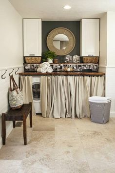 decoration de buanderie mobilier cache machine à laver rideaux