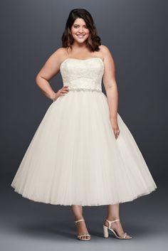 a7a88d3b23d8d Appliqued Tulle Tea-Length Plus Size Wedding Dress - Ivory