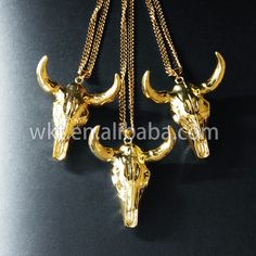 WT-N217 Exclusive Sale! Longhorn resin Bull Cattle Horn Necklace, whole Gold Plated bull Necklace,full silver plated cattle horn necklace by WKTjewelry on Etsy
