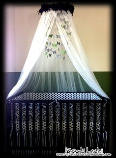 Black & White Damask Crib Bedding and matching mobile made using Butterflies from the Art Philosophy Cricut Cartridge {created by Mandy Leahy}