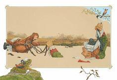Лев Каплан Мюнхаузен вытаскивает себя и коня из болота.