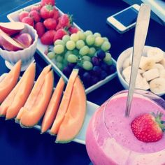 Fresh healthy breakfast with fruits