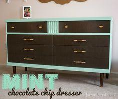 Painted Furniture | Mid-Century Modern Mint Dresser Makeover