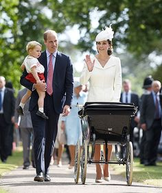 Catherine, Duchess of Cambridge, Prince William, Duke of Cambridge, Princess Charlotte of Cambridge and Prince George of Cambridge walk past crowds as they leave the Church of St Mary Magdalene on the Sandringham Estate after the Christening of Princess Charlotte of Cambridge on July 5, 2015