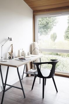 new office chair from Houseology In between chair by &Tradition Scandinavian workspace with a green view Home Office Design, Home Office Decor, Home Decor, Office Ideas, Small Home Offices, Work Chair, Farmhouse Dining Chairs, Office Workspace, Office Chairs