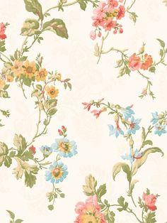 Wallpaper Designer Geranium Multi Floral Trail Vine on Cream Background #York