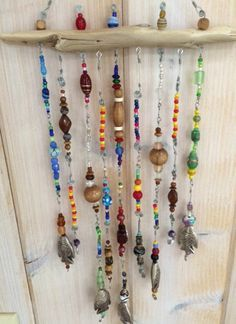 Beaded Wind Chimes DIY - Beaded driftwood whimsey by Chickanwhittle on Etsy Wire Crafts, Diy And Crafts, Arts And Crafts, Driftwood Projects, Driftwood Art, Diy Wind Chimes, Beaded Curtains, Beach Crafts, Camping Crafts