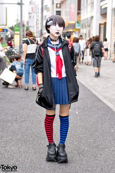 Lemon September 2016 - Japanese School Uniform, Demonia, Striped Socks & Momoclo Winged Backpack in Harajuku
