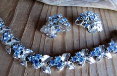 Vintage SILVER EARRINGS & NECKLACE Blue by CreativeWorkStudios, $22.00