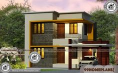 Front House Design India with Two Story Box Type Simple Home Plans Box House Design, Simple House Design, House Design Photos, Two Story House Plans, Simple House Plans, Modern House Plans, 1500 Sq Ft House, House Plans 3 Bedroom, Box Houses