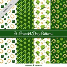 Collection of flat st patrick's day patterns Free Vector