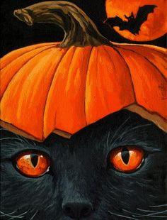 Creepy BLACK Cat & Bat Halloween black cat pumpkin print from original oil painting Halloween So cute! I would put black sprinkles on the . Retro Halloween, Halloween Chat Noir, Halloween Kunst, Halloween Painting, Halloween Pictures, Creepy Halloween, Happy Halloween, Halloween Canvas Paintings, Halloween Artwork
