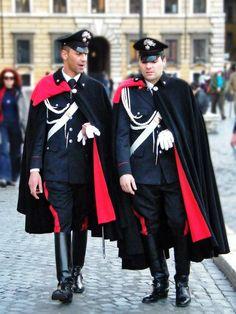 The present Italian Carabineri (paramilitary police uniforms)