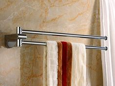 18 Inch Rotate Solid Br Bathroom Double Towel Bar Chrome Polished Finish Wall Mount