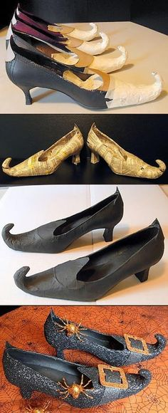 Witch Shoes: Shape with cardboard & aluminum foil, hold with tape, cover with phonebook paper, paint black, cover with glitter, and add a buckle and some spiders.