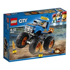 Lego City Monster Truck Features a colorful monster truck with massive wheels, air scoop on the hood and working suspension, plus a buildable ramp. Launch the monster truck off the ramp to jump over the flaming fire barrels. Lego 4, Buy Lego, Monster Trucks, Toy Trucks, Monster Jam, Lego City Sets, Lego Sets, Demolition Derby, Shop Lego