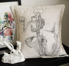 Antique Anatomical Mermaid Pillow