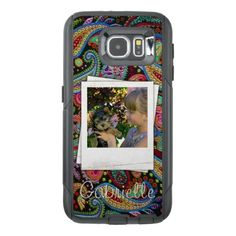 Fun Custom Paisley Floral Pattern Your Name Photos OtterBox Samsung Galaxy S6 Case - pattern sample design template diy cyo customize
