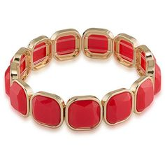 1St And Gorgeous Faceted Cabochon Stretch Bracelet ($24) ❤ liked on Polyvore featuring jewelry, bracelets, gold, gold tone bangles, gold bangles, cabochon jewelry, stretch jewelry and facet jewelry