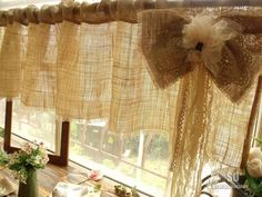 "85"" Rustic Farmhouse Chic Burlap Valance Curtain Vintage Laces Bow Shabby Soft   eBay"