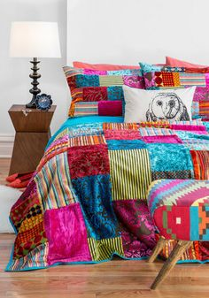 Come Array With Me Quilt Set by Karma Living - Multi, Boho, Dorm Decor, Best, Print, Patch