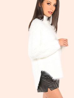 """A new sweater has joined the jumper party and you can now own it! Featuring a mock neckline, classic sweater body and a stretchy fur knit material. Sweater measures 29"""" in. from top to bottom hem. Pair with medium washed ankle grazers and white sneakers. #monochrome #MakeMeChic #MMCstyle #ootd #MMC #style #fashion #newarrivals #summer16"""