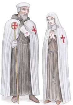 Templar Master and Templar Nun by Dashinvaine on Deviant Art. In the early days of the order there were a small number of nunneries attached to them however like the married brothers or Con Frere these were later done away with. In one church in France there is a stained glass window depicting a Templar nun in a blue habit, not certain as to which church though.