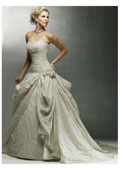 taffeta strapless empire waistline and pick up ball gown with chapel train and lace up design wedding dress wm 0102