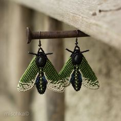 Bead Embroidered Earrings The Moths of Forest by beadedmischka