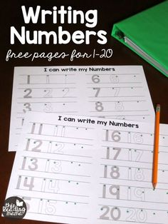 Writing numbers can be a tricky thing for many preschoolers and Kindergartners. Numbers like and 6 have lots of curvy lines and can be a source of frustration. This year, I created VERY simple writing numbers pages for my Kindergartner. Teaching Numbers, Numbers Kindergarten, Numbers Preschool, Kindergarten Writing, Math Numbers, Preschool Printables, Preschool Learning, Teaching Math, Number Writing Practice