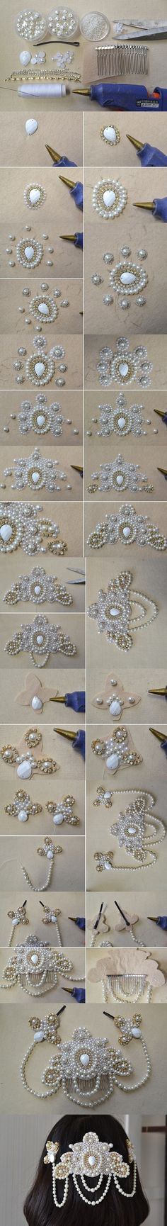 Tutorial on How to Make a Bridal Comb Headpiece - A Fashionable Design for Bride from LC.Pandahall.com                    #pandahall