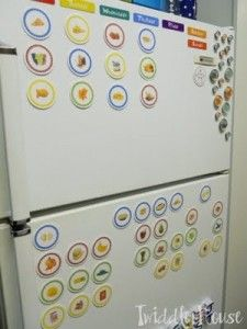 How to Feed a Toddler - I really like this layout. It would be a fun way for Jack to communicate what he wants to eat if I had food on the fridge. It would suck when we were out of that food item though.